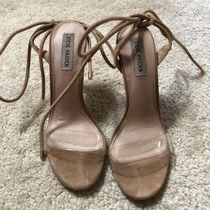 Steve Madden nude tie up heels